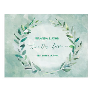 Save the date in Watercolor Leaves Postcard