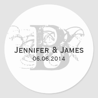 Save the Date Initial Name Wedding Sticker Grey