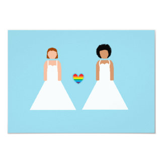 Save the date -- interracial lesbian couple 9 cm x 13 cm invitation card