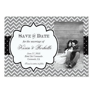 Save the Date Invitation Chevron and Polka Dots