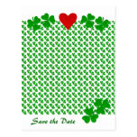 Save the Date Irish Shamrock border with red heart Post Cards