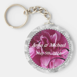 save the date key chain with Pearls & Pink Floral