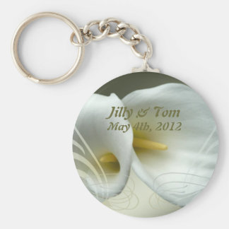 Save the date key chain with white lily design