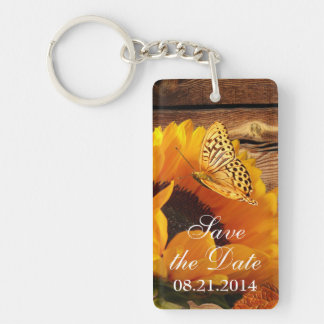 Save the Date Keychain, Country Fall Sunflower Key Ring