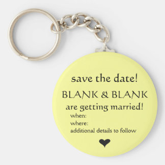 save the date keyring basic round button key ring