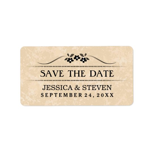 Save the Date Label - Gold Fancy Floral Address Label