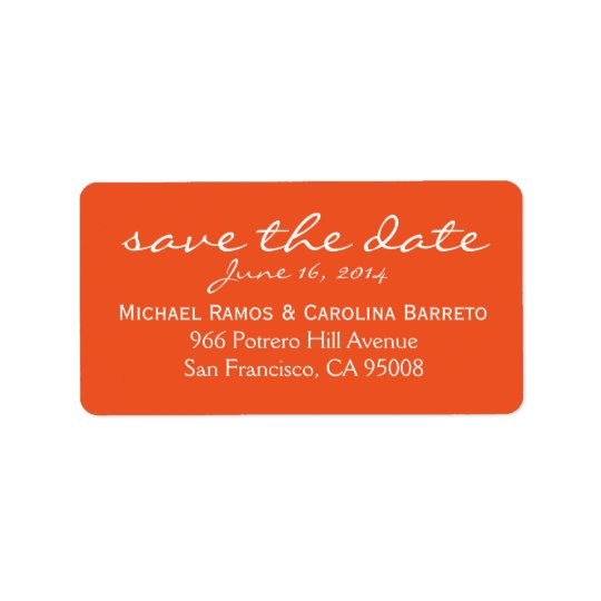 Save the Date Labels - Orange