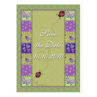 Save the Date - lady bug and butterfly Postcard