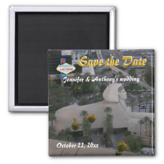Save the Date Las Vegas Weddings Square Magnet