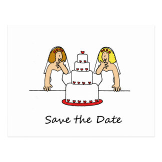 Save the Date  Lesbian Brides Postcard
