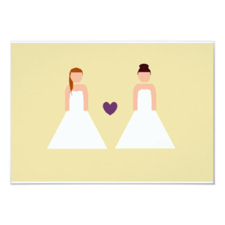 Save the date -- lesbian wedding 3.5x5 paper invitation card