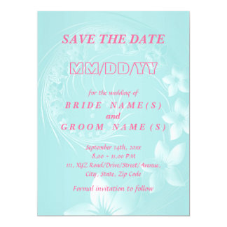 Save the Date - Light Blue Abstract Flowers 17 Cm X 22 Cm Invitation Card