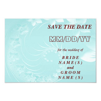 Save the Date - Light Blue Abstract Flowers 9 Cm X 13 Cm Invitation Card
