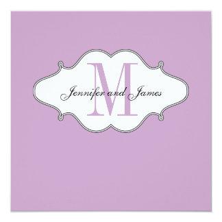 Save The Date Lilac Monogram Wedding 13 Cm X 13 Cm Square Invitation Card