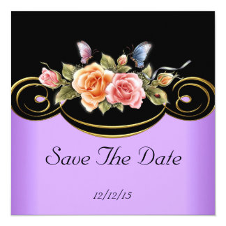 """Save The Date Lilac Pink Gold Black Roses 5.25"""" Square Invitation Card"""