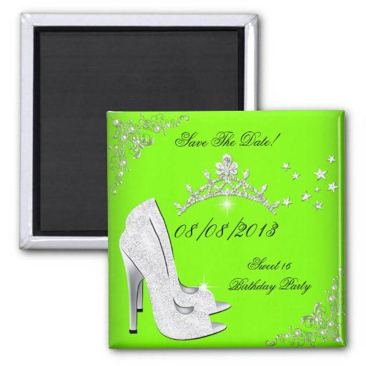 Save The Date Lime High Heels Shoes Tiara Refrigerator Magnet