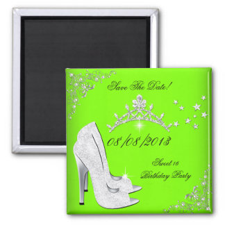 Save The Date Lime High Heels Shoes Tiara Square Magnet