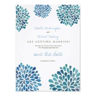 Save the Date Linen Blue Flower Petal Blooms Card