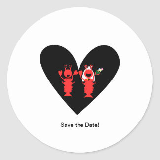 Save the Date! Lobster wedding Classic Round Sticker