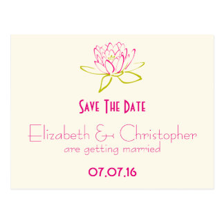 Save The Date Lotus Flower / Water Lily Postcard