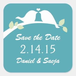 Save the Date Love Birds Square Sticker