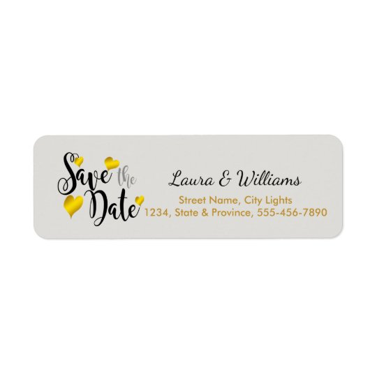 Save The Date Love Golden Heart Shape Brushed