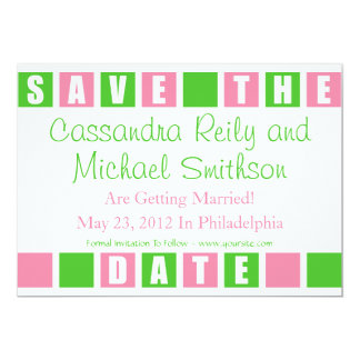 Save The Date (Lt Pink / Lime Green Square Boxes) 13 Cm X 18 Cm Invitation Card