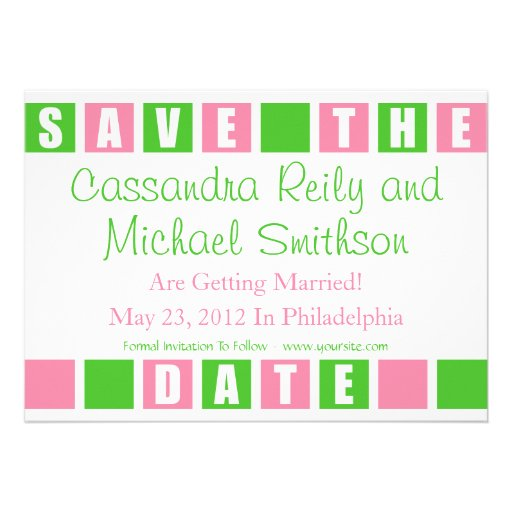 Save The Date (Lt Pink / Lime Green Square Boxes) Custom Invite