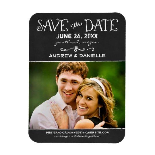 Save the Date Magnet   Black Chalkboard