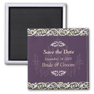 Save the Date Magnet, chandelier + vine Square Magnet