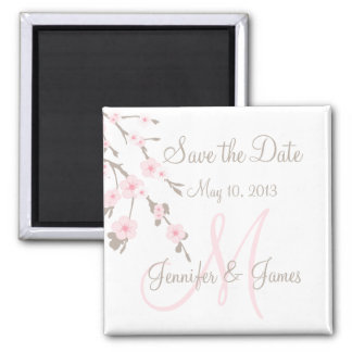 Save the Date Magnet Cherry Blossoms with Monogram