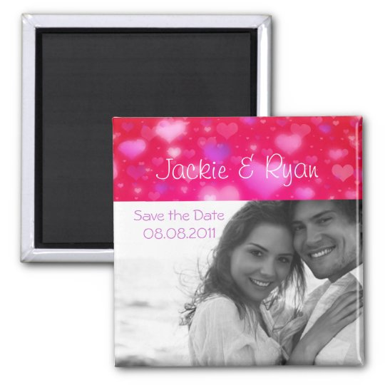 Save the Date Magnet Cute Hearts Photo Template