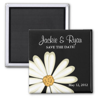 Save the Date Magnet Daisy Wedding White Black