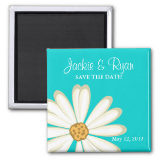 Save the Date Magnet Daisy Wedding White blue