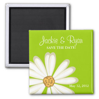 Save the Date Magnet Daisy Wedding White lime gree
