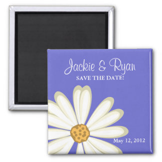 Save the Date Magnet Daisy Wedding White Periwinkl