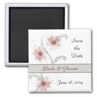 Save the Date Magnet - Deep Pink Daisies