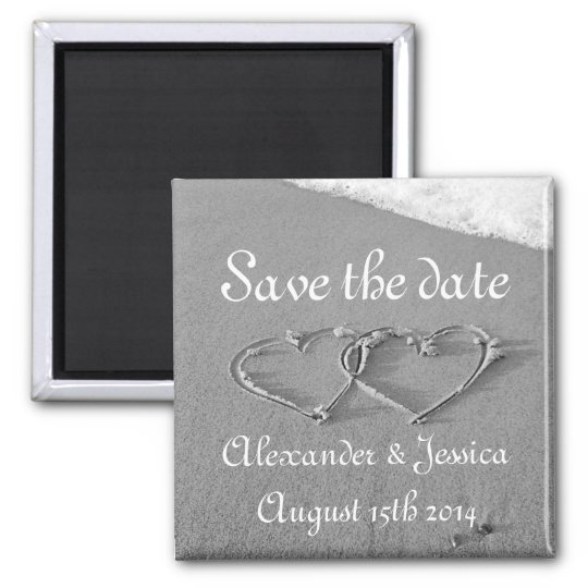 Save the date magnet | Drawn hearts in