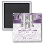 Save the Date Magnet Floral Leaf Purple Silver Bow