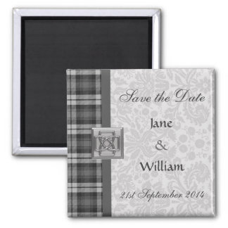 Save the Date Magnet Grey Watch Tartan & Damask
