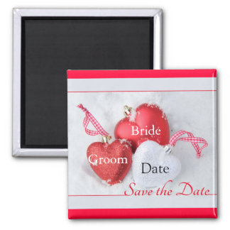 Save the date magnet Hearts in Snow Christmas