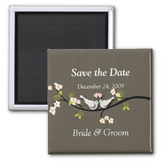 Save the Date Magnet, love birds Square Magnet