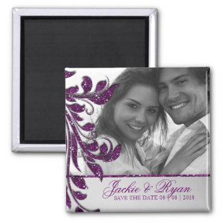 Save the Date Magnet Photo Purple Sparkle