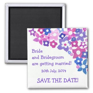 'Save the Date' Magnet, Pink and Blue Flowers