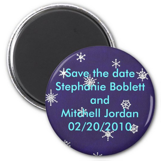 Save the date magnet, snowflakes on navy blue 6 cm round magnet