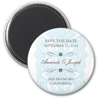 Save The Date Magnet-Vintage Blossom 6 Cm Round Magnet