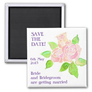 'Save the Date' Magnet, Vintage Pink Roses