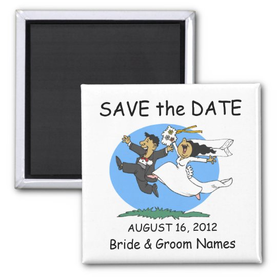 Save the Date Magnet Wedding Happy Couple Clipart