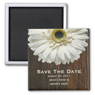Save The Date Magnet - White Gerbera & Barnwood