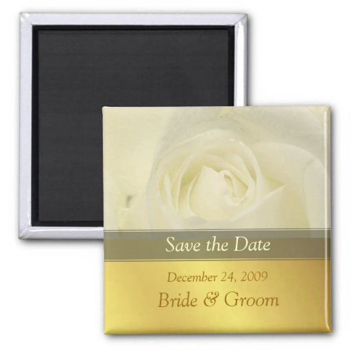Save the Date Magnet, white rose